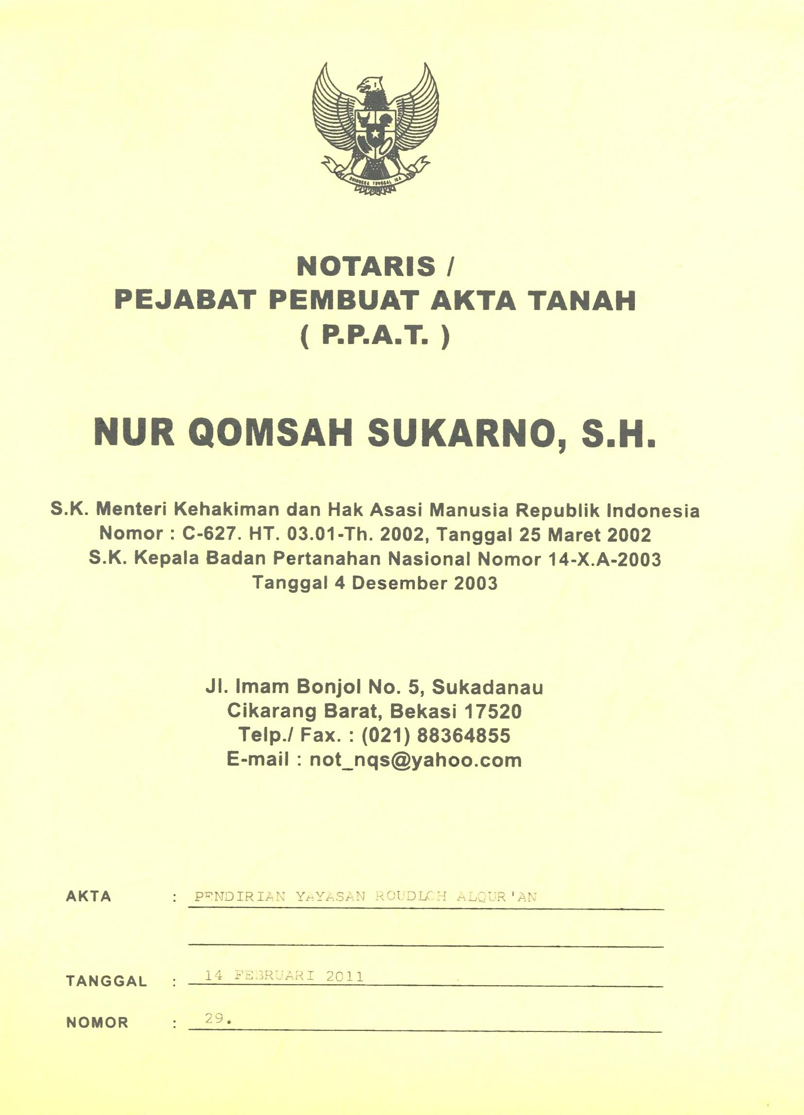 Akte Pendirian Mtq Bina Alquran